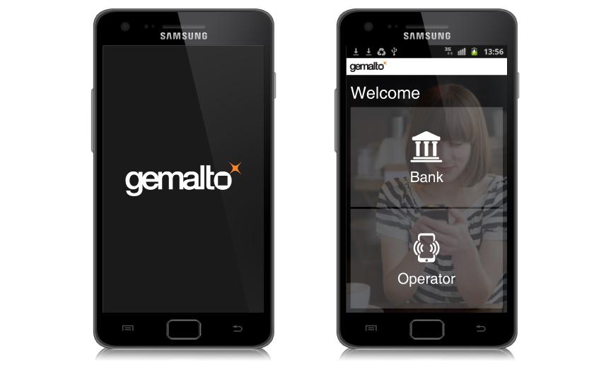 Gemalto MFS / מסך ראשי בו ניתן לבחור אם לעבוד עם חשבון הבנק או מול המפעיל הסלולרי