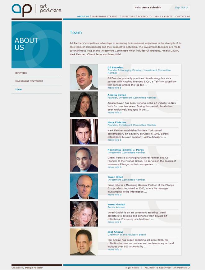 Art Partners website