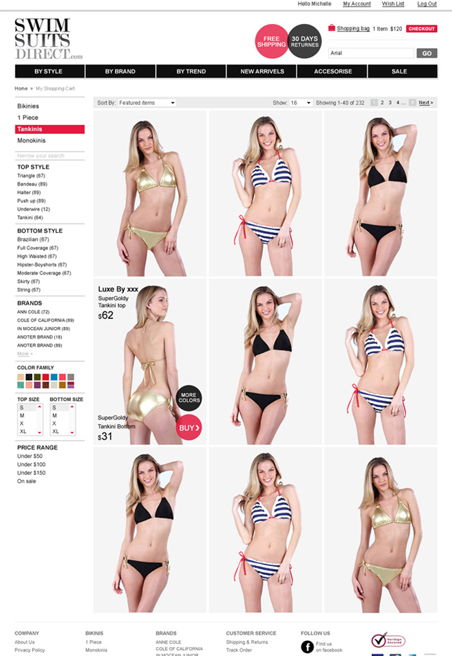 Swimsuit Direct / Products List Page / when hover, you can see the back & get info