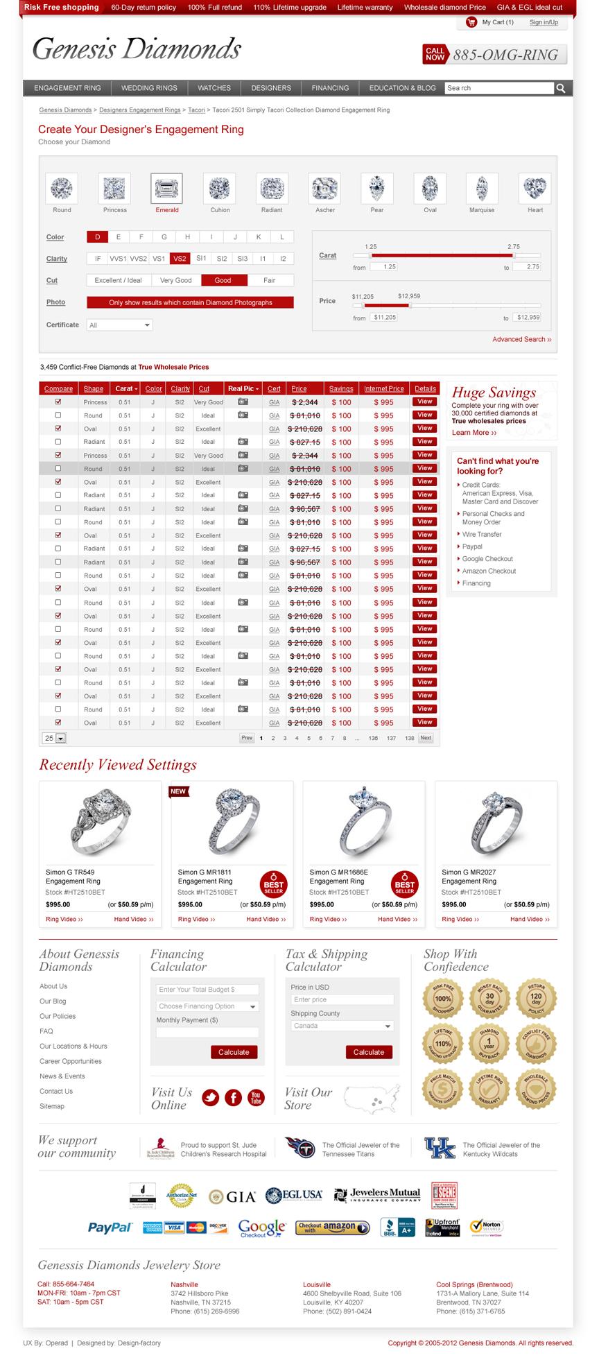 Genesis Diamonds website