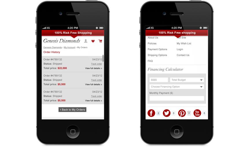 Genesis Diamonds mobile site - A Brilliant Company