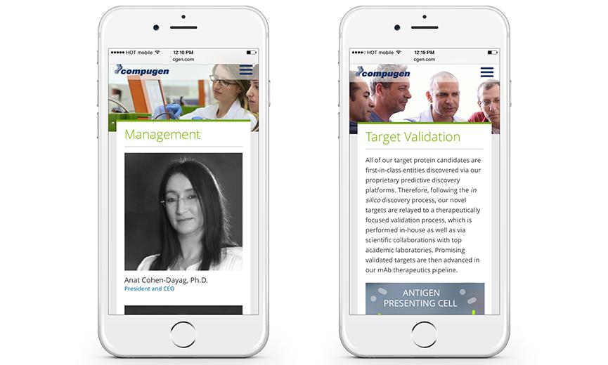 Compugen mobile website
