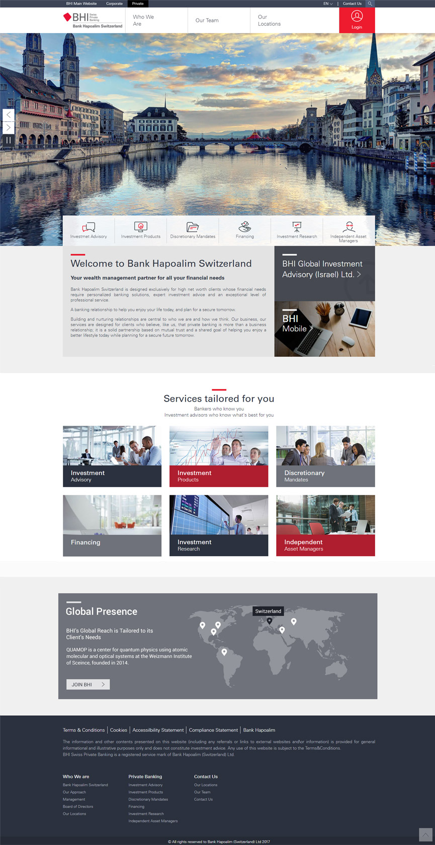 BHI Private banking - Switzerland Homepage